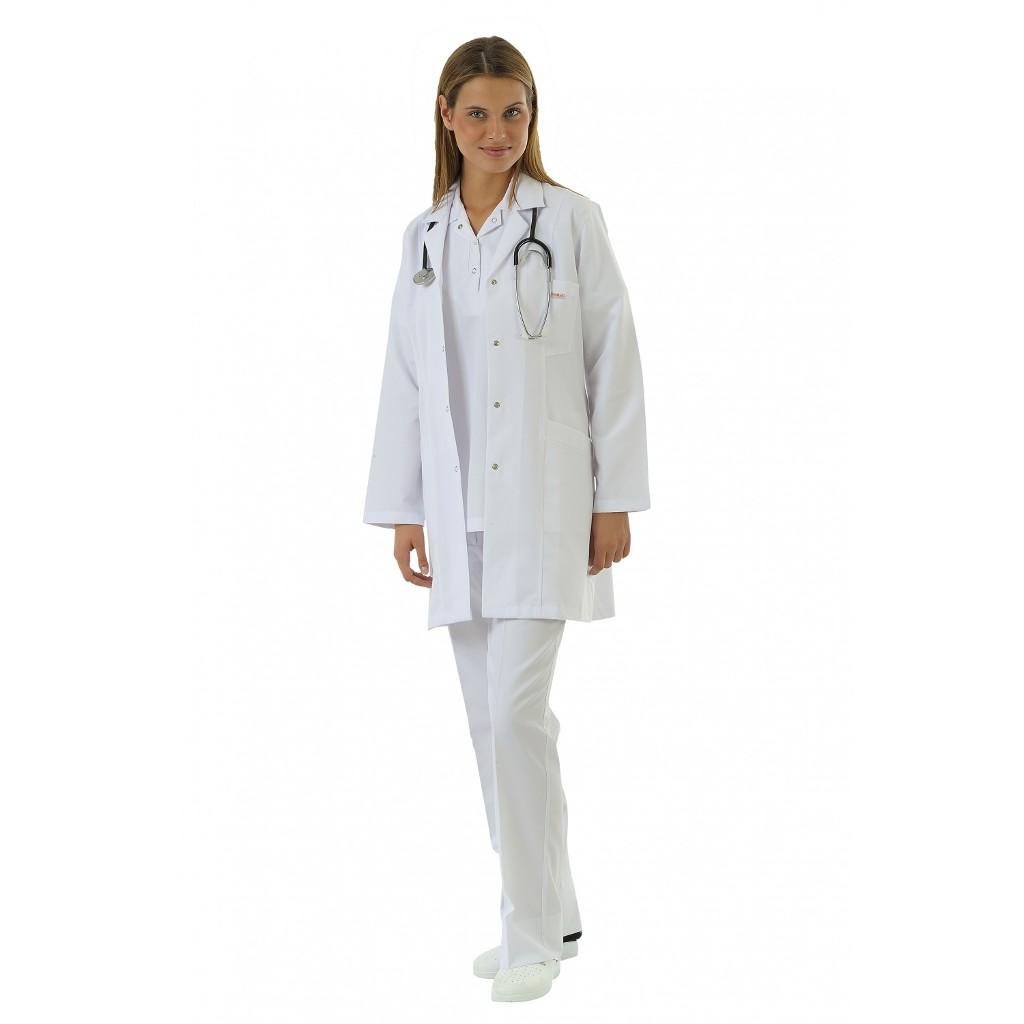 Orta Boy Ceket Yaka Doktor Hemşire Öğretmen Önlüğü