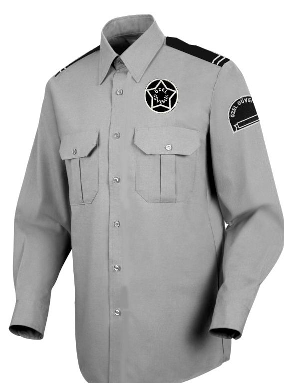 Uzun Kollu Güvenlik Gömlek Gri Renk